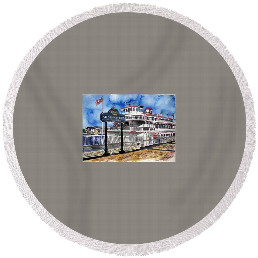 Savannah Round Beach Towel featuring the painting Savannah River Queen Boat Georgia by Derek Mccrea