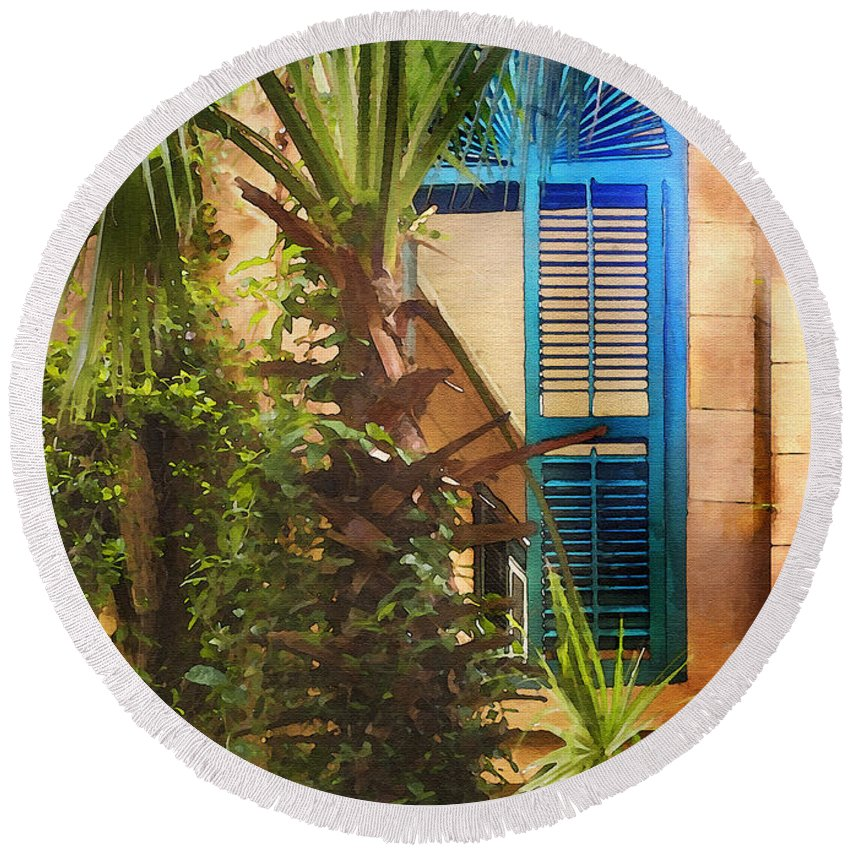Architecture Round Beach Towel featuring the photograph Savannah Window by Sharon Foster
