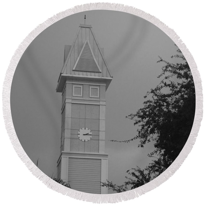 Black And White Round Beach Towel featuring the photograph Save The Clock Tower by Rob Hans