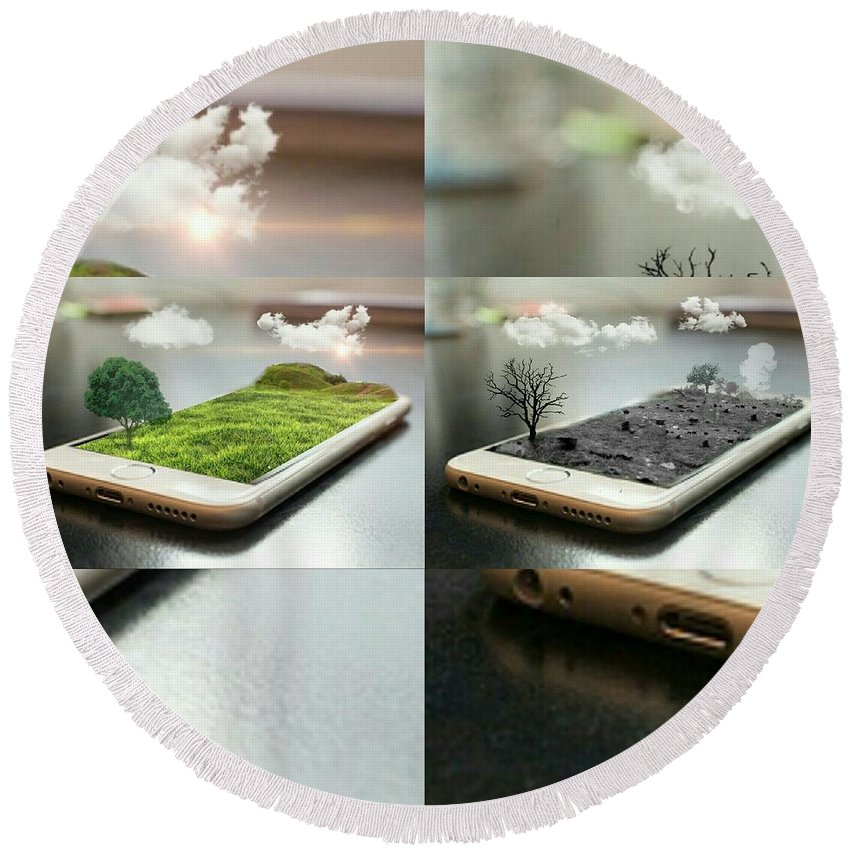 Landscape Round Beach Towel featuring the digital art Save Tree by Ashikur Rahman