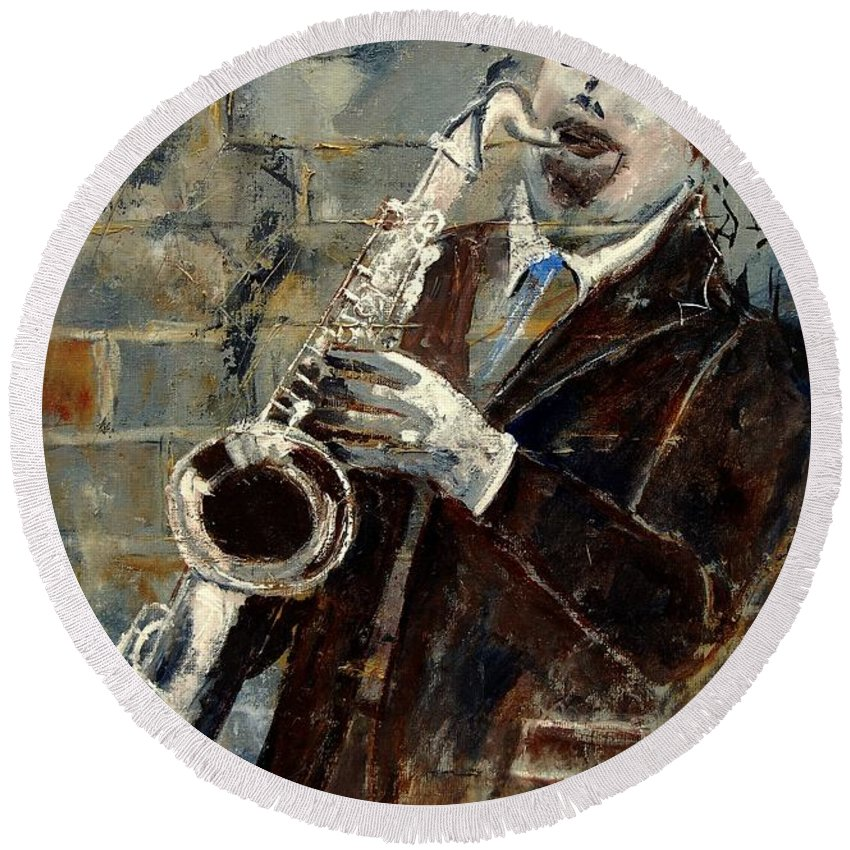 Music Round Beach Towel featuring the painting Saxplayer 570120 by Pol Ledent