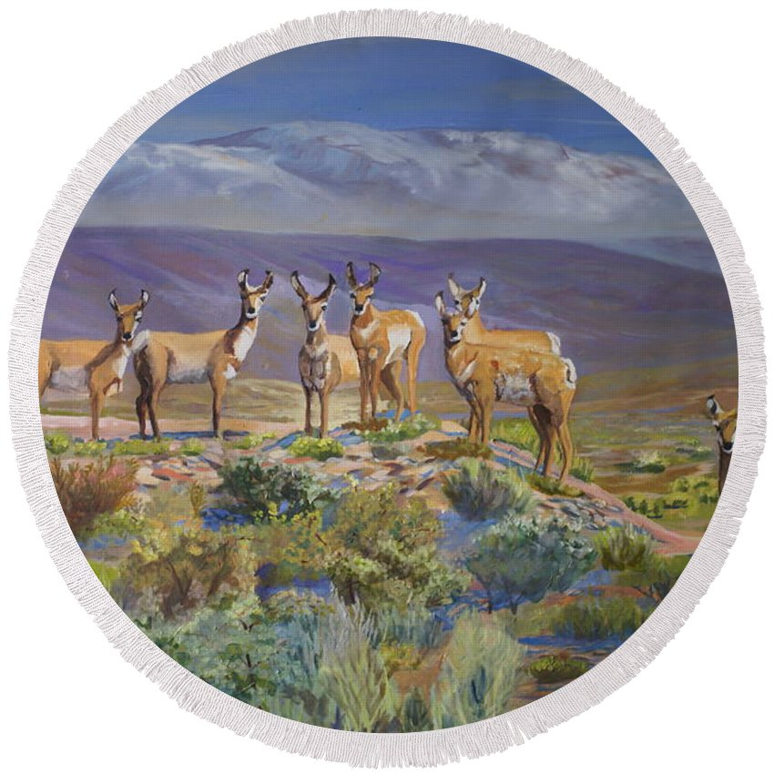 Antelope Round Beach Towel featuring the painting Say Cheese Antelope by Heather Coen