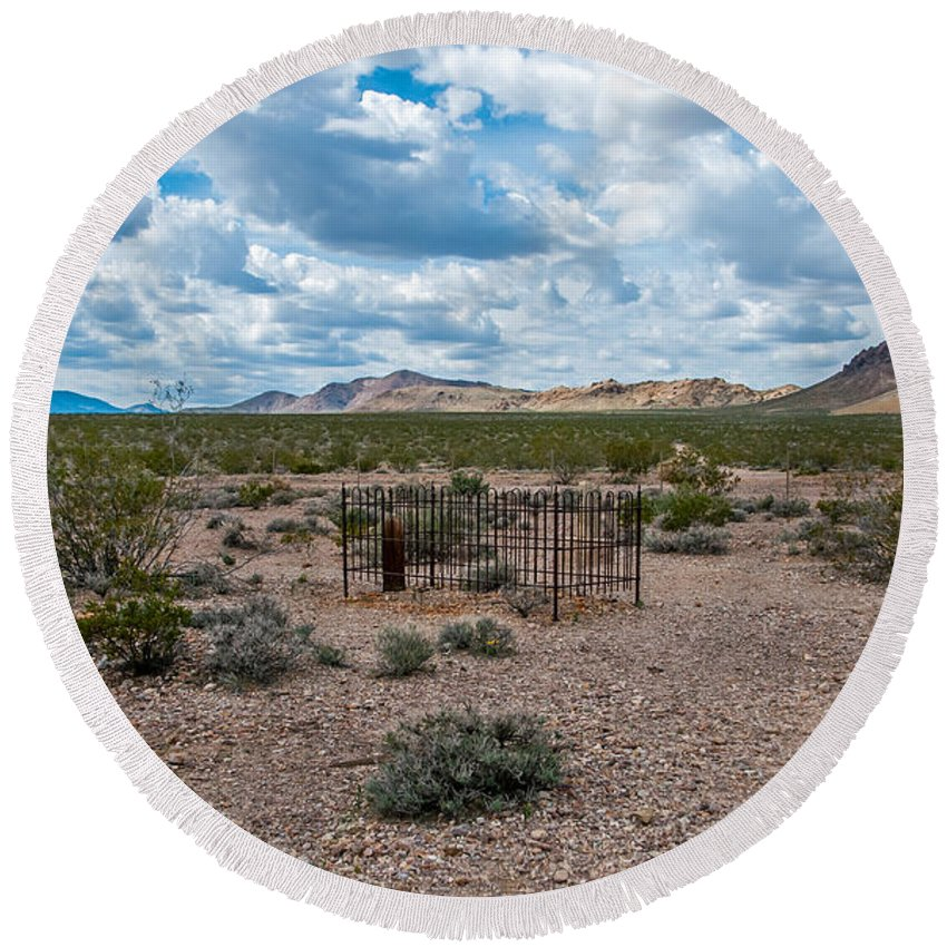 Rhyolite Round Beach Towel featuring the photograph Scanty Remains by Stephen Whalen