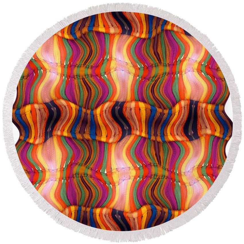 Abstract Round Beach Towel featuring the digital art Scarf It Up by Ron Bissett