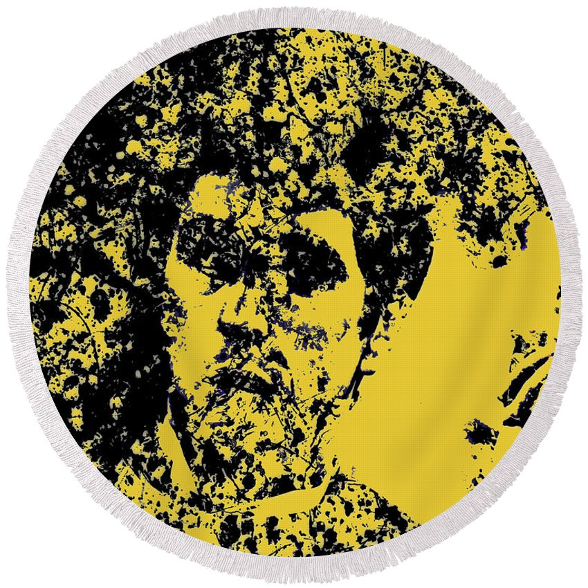 Scarface Round Beach Towel featuring the mixed media Scarface 2e by Brian Reaves
