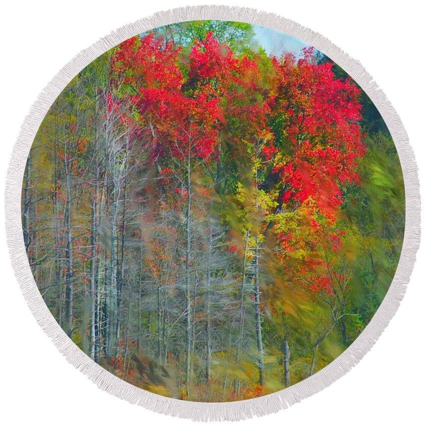 Landscape Round Beach Towel featuring the digital art Scarlet Autumn Burst by David Lane