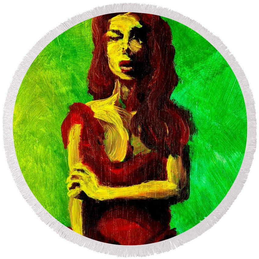 Expressionist Round Beach Towel featuring the painting Scarlet by Jason Reinhardt