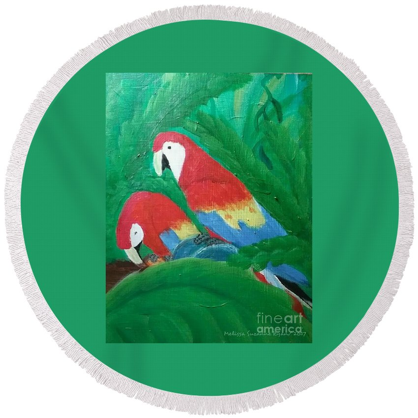 Macaws Round Beach Towel featuring the painting Scarlet Macaws by Melissa Suzanne Ryan