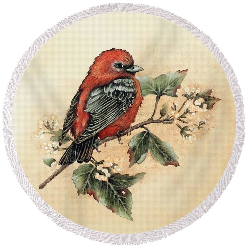 Scarlet Tanager Round Beach Towel featuring the photograph Scarlet Tanager - Vintage by Cindy Treger