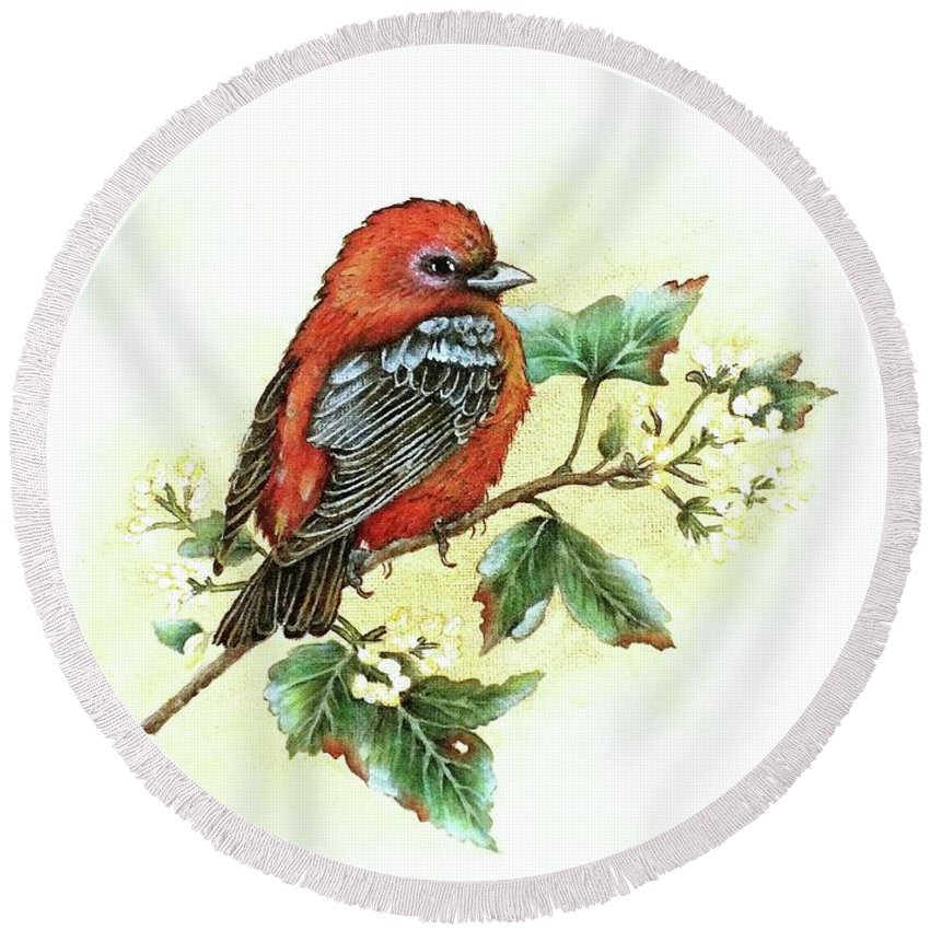 Scarlet Tanager Round Beach Towel featuring the photograph Scarlet Tanager - Summer Season by Cindy Treger