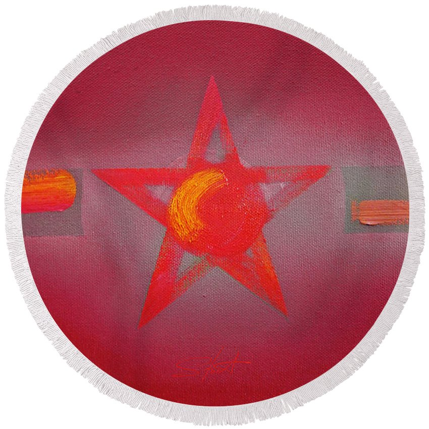 Usaaf Round Beach Towel featuring the painting Scarlet Vermillion by Charles Stuart