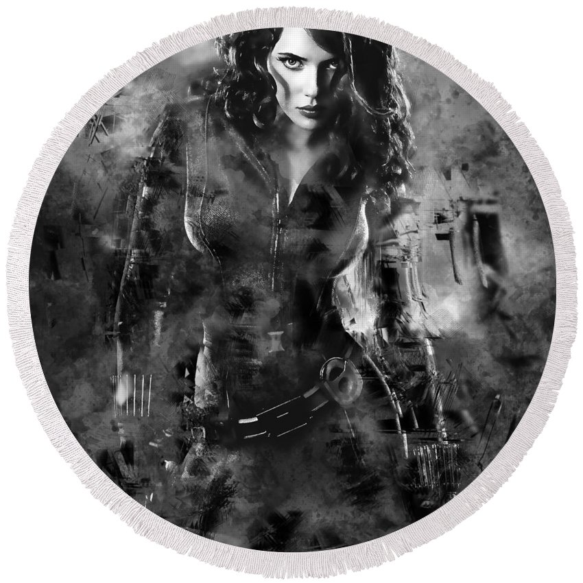 Black Widow Round Beach Towel featuring the mixed media Scarlett Johansson Black Widow by Love Art