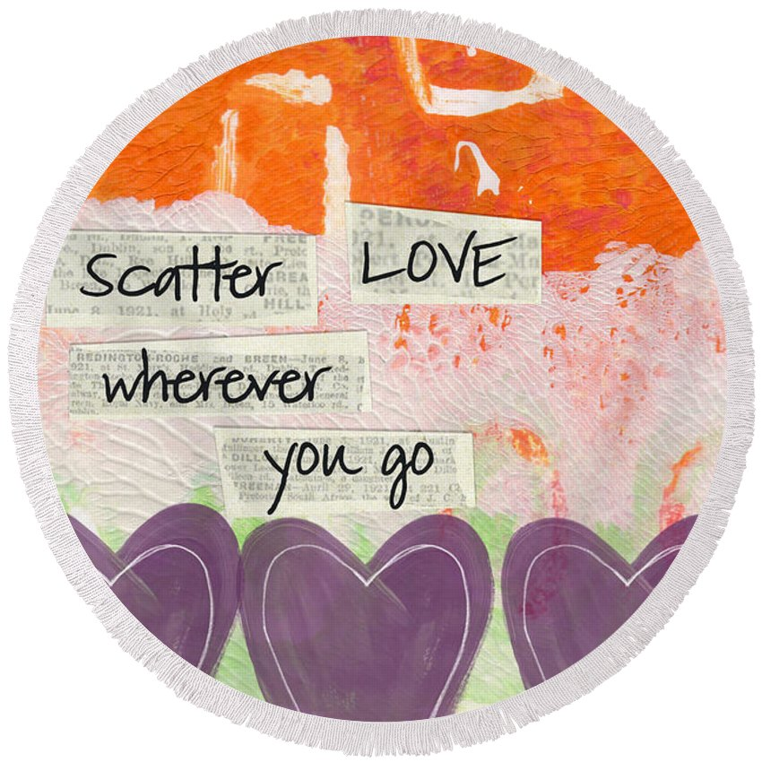 Abstract Round Beach Towel featuring the mixed media Scatter Love by Linda Woods