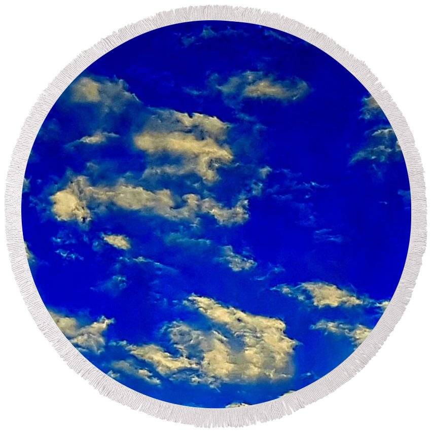 Clouds Round Beach Towel featuring the photograph Scattered Clouds by Colin Drysdale