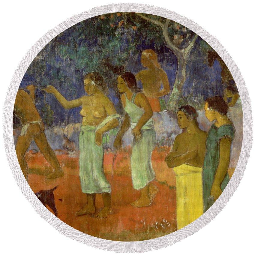 Scene From Tahitian Life Round Beach Towel featuring the painting Scene From Tahitian Life by Paul Gauguin
