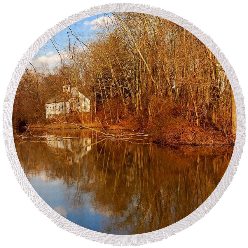 New Jersey Round Beach Towel featuring the photograph Scene In The Forest - Allaire State Park by Angie Tirado