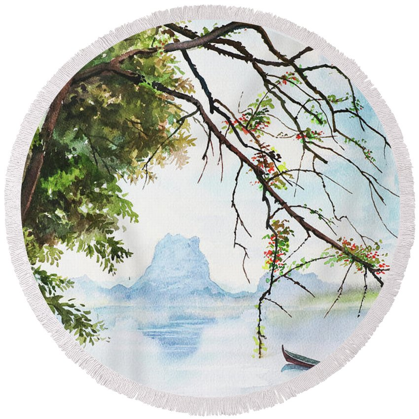 Landscape Round Beach Towel featuring the painting Scenery_01 by Win Min Mg