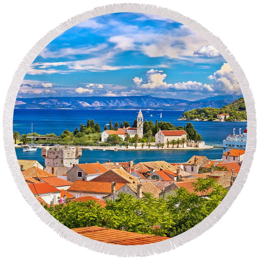 Church Round Beach Towel featuring the photograph Scenic Island Of Vis Waterfront by Brch Photography