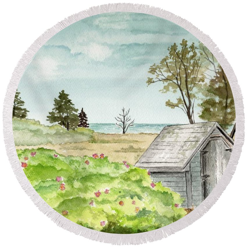 Landscape Watercolor Scenery Scenic Trees Roses Shed Building Art Painting Maine Round Beach Towel featuring the painting Scenic Maine  by Brenda Owen
