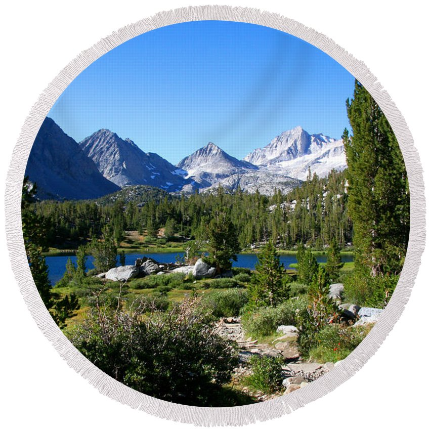 Scenic Mountain View Round Beach Towel featuring the photograph Scenic Mountain View by Chris Brannen