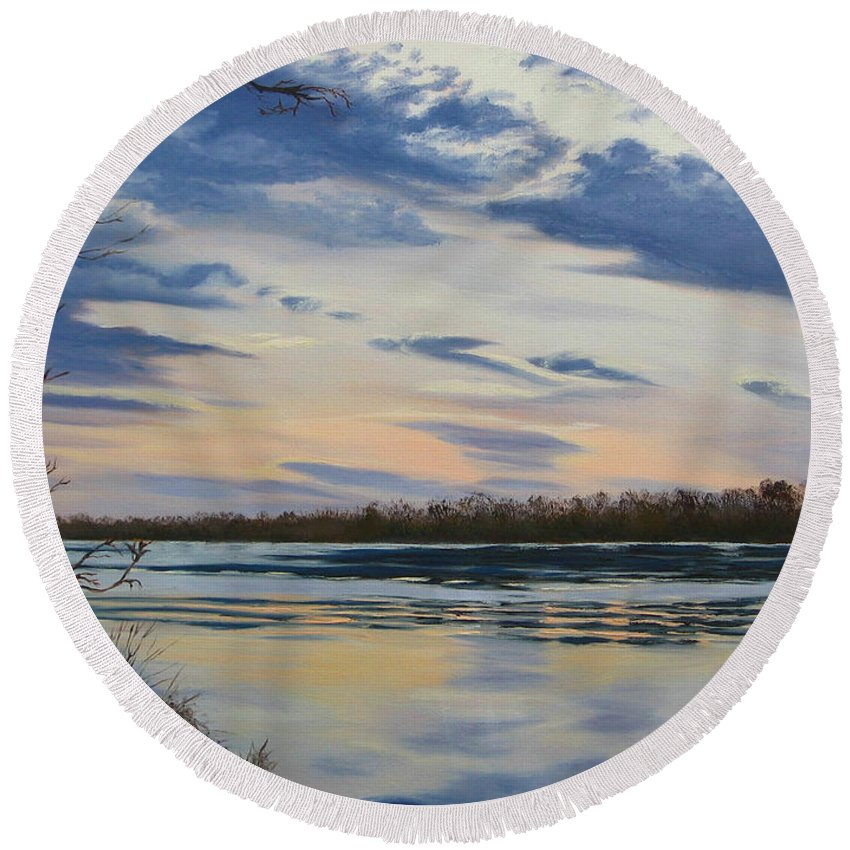 Clouds Round Beach Towel featuring the painting Scenic Overlook - Delaware River by Lea Novak