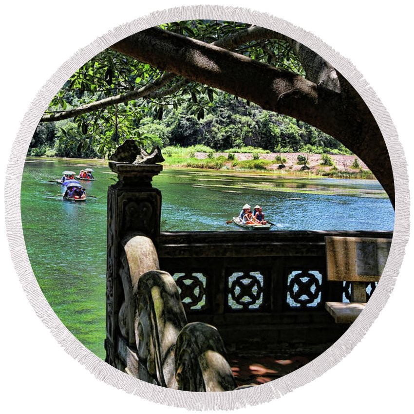Vietnam Round Beach Towel featuring the photograph Scenic Tam Coc Boat Tour by Chuck Kuhn