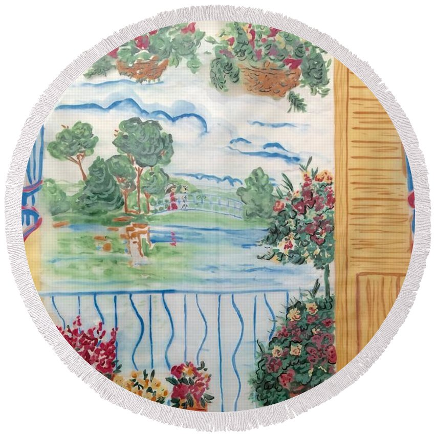 Round Beach Towel featuring the painting Scenic View From The Terrace by Bruce Cohose