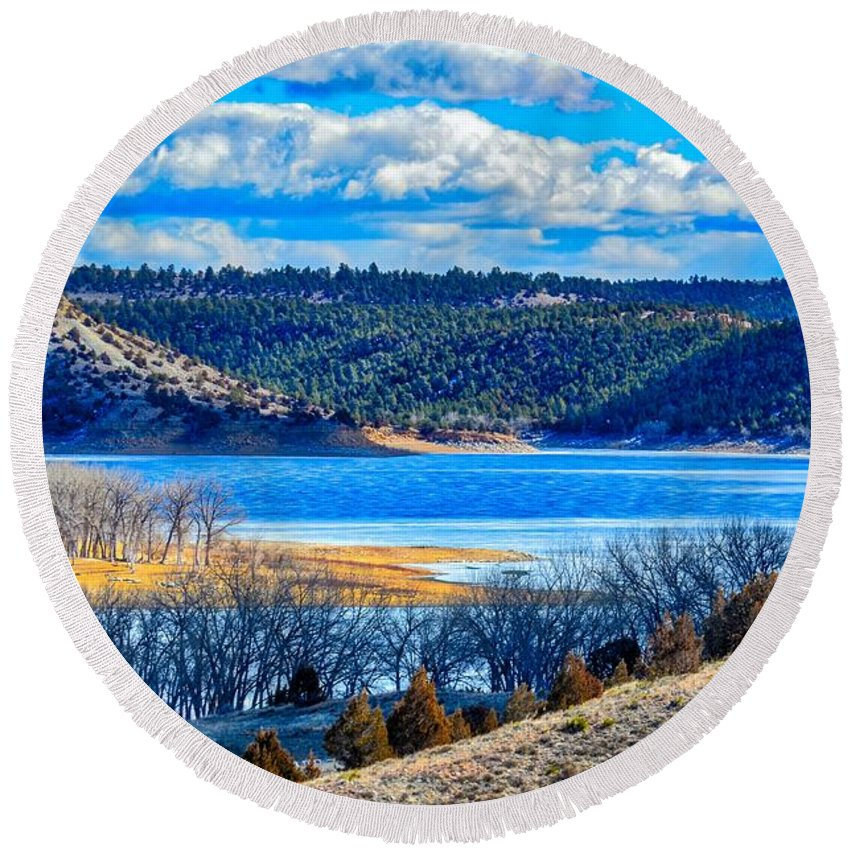 Landscape Round Beach Towel featuring the photograph Scenic View by James Stewart