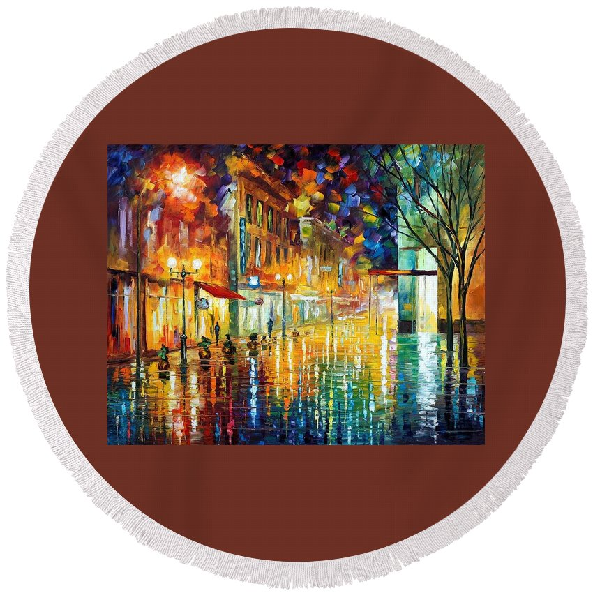 Afremov Round Beach Towel featuring the painting Scent Of Rain by Leonid Afremov