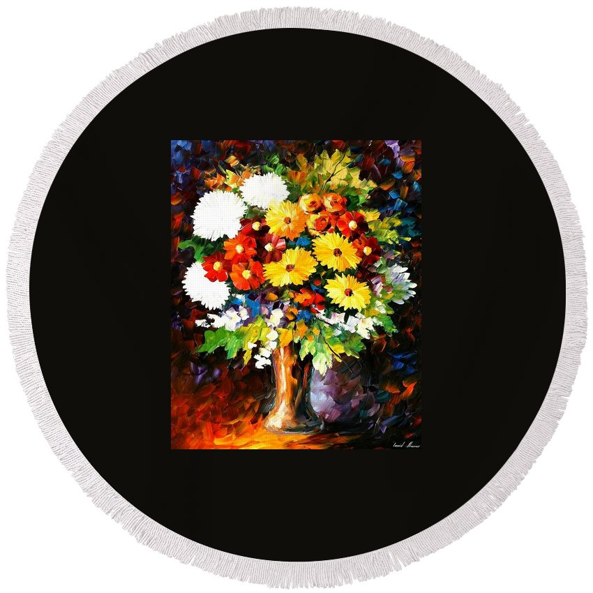Afremov Round Beach Towel featuring the painting Scent Of The Night by Leonid Afremov