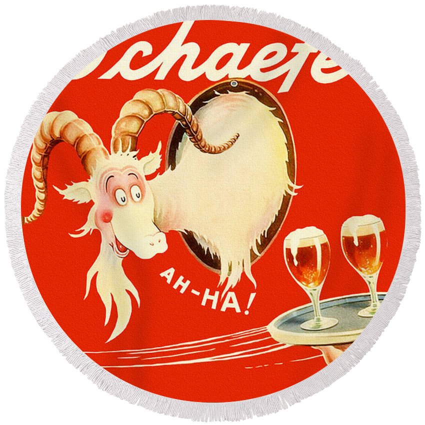 Schaefer Beer Round Beach Towel featuring the painting Schaefer Beer Vintage Ad by John Farr