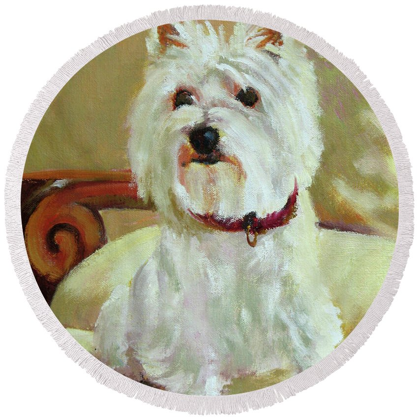Pet Round Beach Towel featuring the painting Schatzie by Keith Burgess