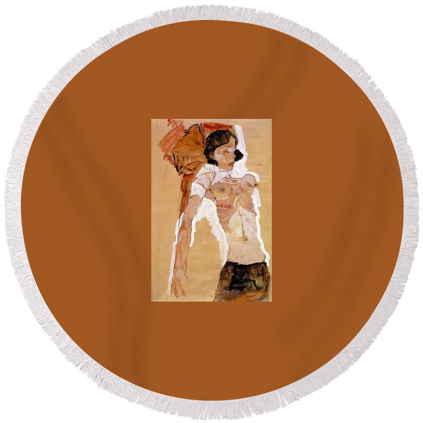 Bonnet Round Beach Towel featuring the digital art Schiele Semi-nude Girl Reclining 1911 459x311 Cm Egon Schiele by Eloisa Mannion