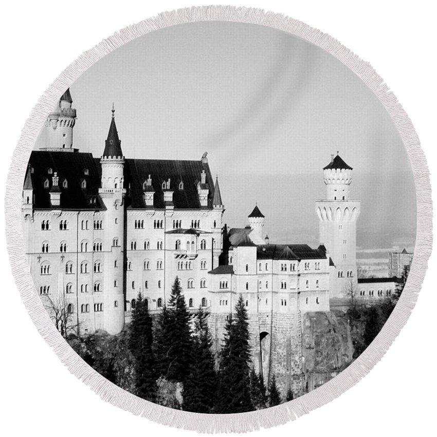 Europe Round Beach Towel featuring the photograph Schloss Neuschwanstein by Juergen Weiss