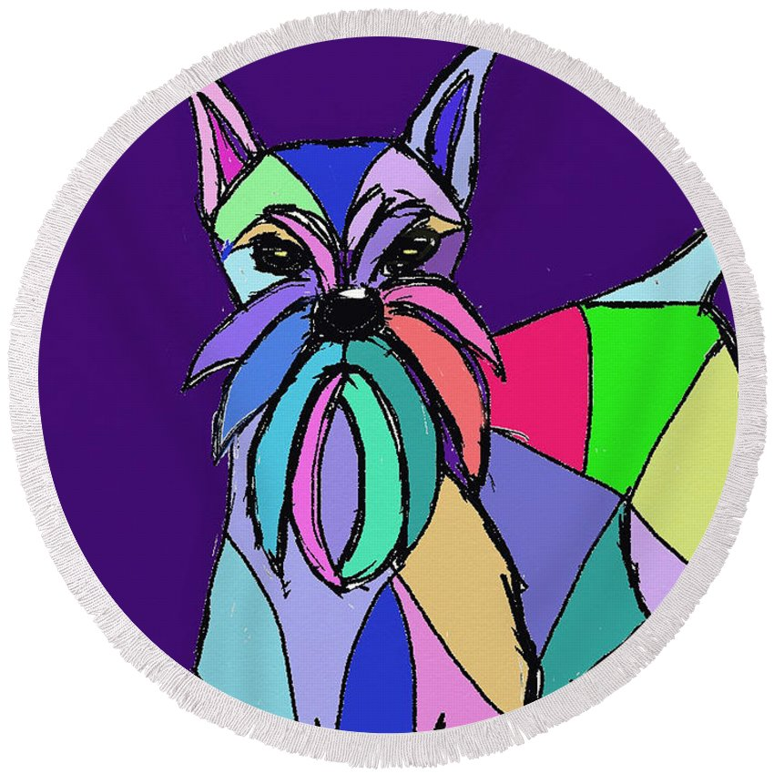 Ipad Drawing And Painting By Terry D. Chacon Round Beach Towel featuring the painting Schnauzer Colors by Terry Chacon