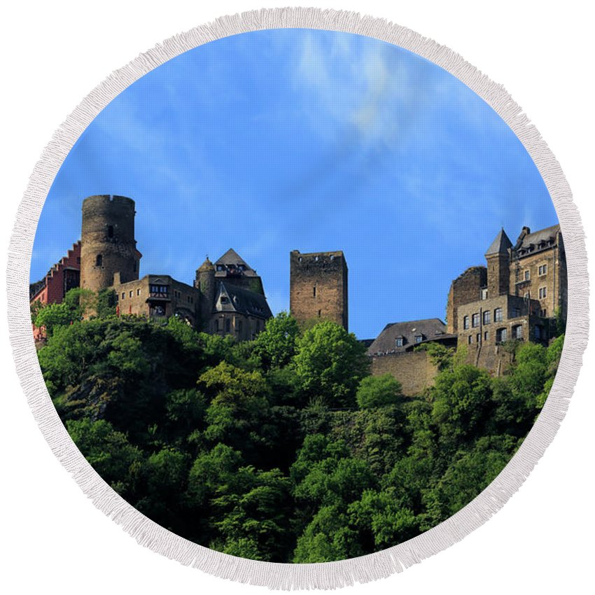 Schoenburg Castle Round Beach Towel featuring the photograph Schoenburg Castle Oberwesel Germany by Louise Heusinkveld