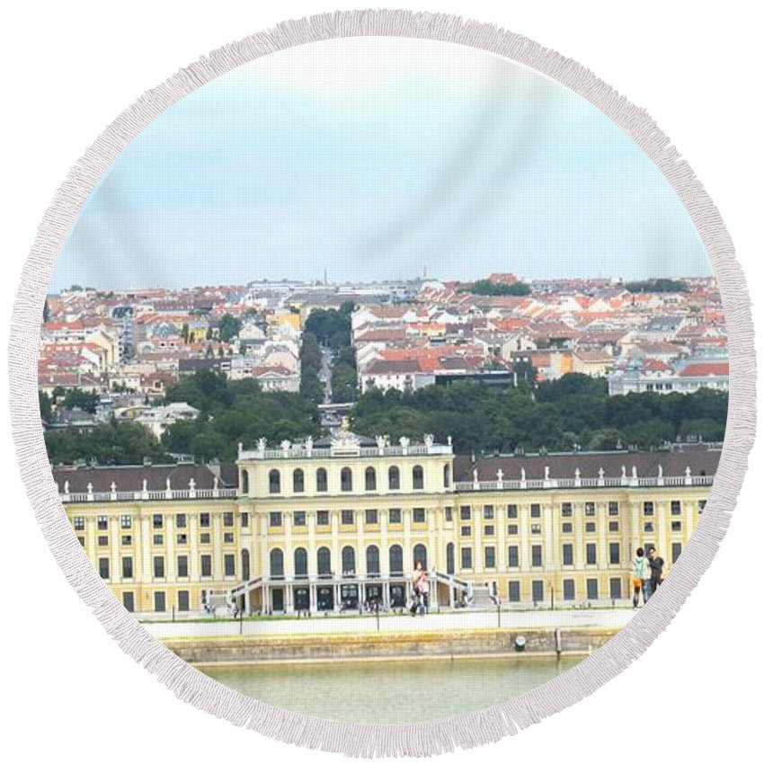 Schonbrunn Round Beach Towel featuring the photograph Schonbruun Castle by Ian MacDonald
