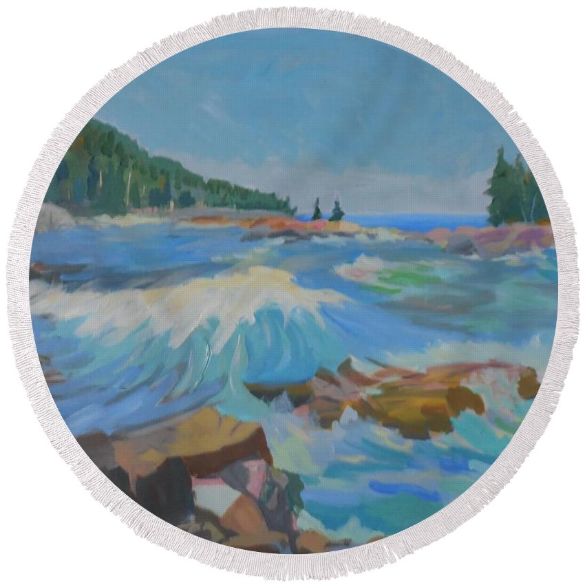 Landscape Round Beach Towel featuring the painting Schoodic Inlet by Francine Frank