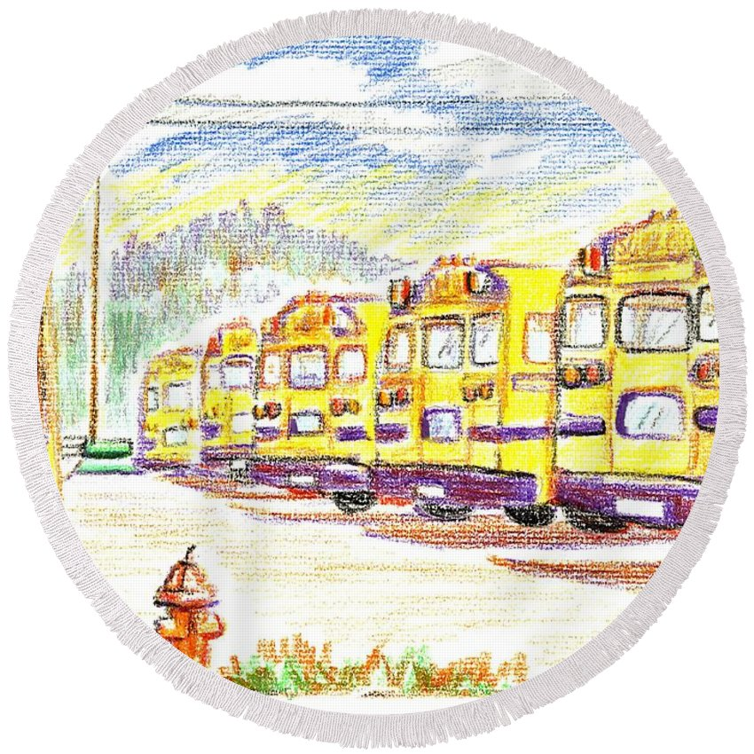 School Bussiness Round Beach Towel featuring the mixed media School Bussiness by Kip DeVore