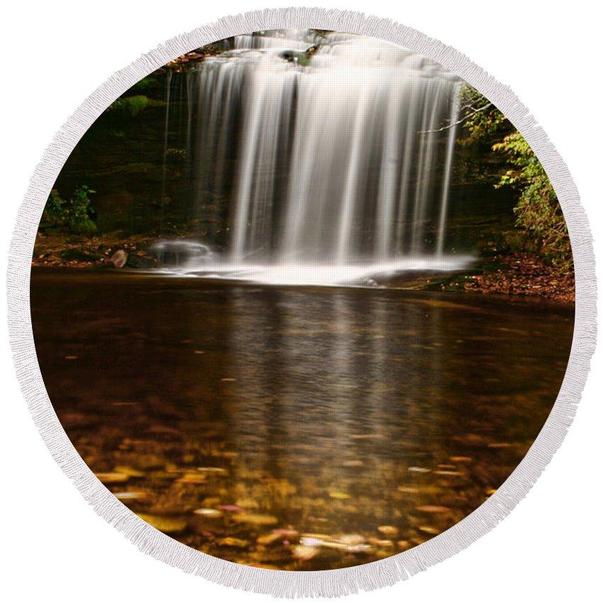 Water Waterfall Creek Stream Flowing Nature Landscape Autumn Fall North Carolina Round Beach Towel featuring the photograph Schoolhouse Falls - Nc by Shari Jardina