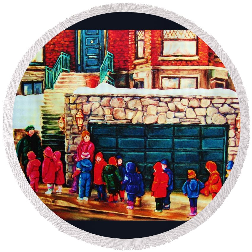 Montreal Streetscenes Round Beach Towel featuring the painting Schools Out by Carole Spandau