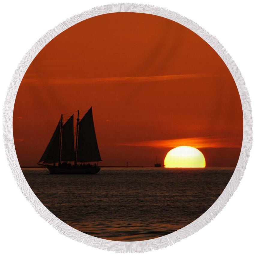 Schooner In Red Sunset Round Beach Towel featuring the photograph Schooner In Red Sunset by Susanne Van Hulst