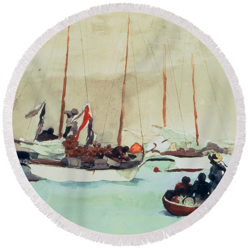 Boat Round Beach Towel featuring the painting Schooners At Anchor In Key West by Winslow Homer