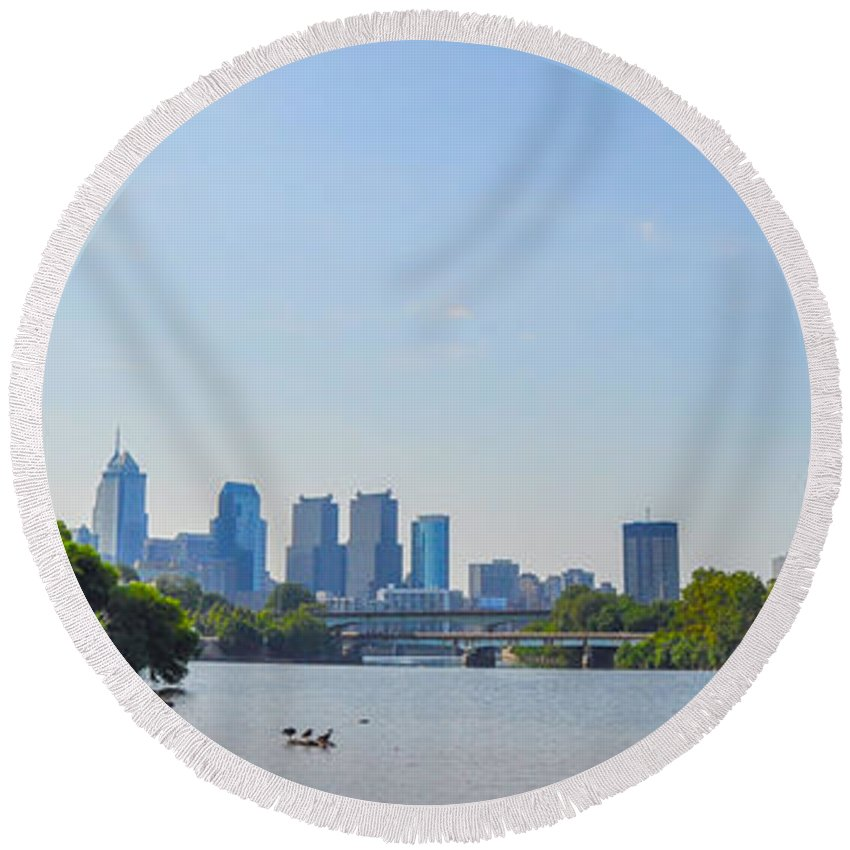Schuylkill Round Beach Towel featuring the photograph Schuylkill River Panorama - Philadelphia by Bill Cannon