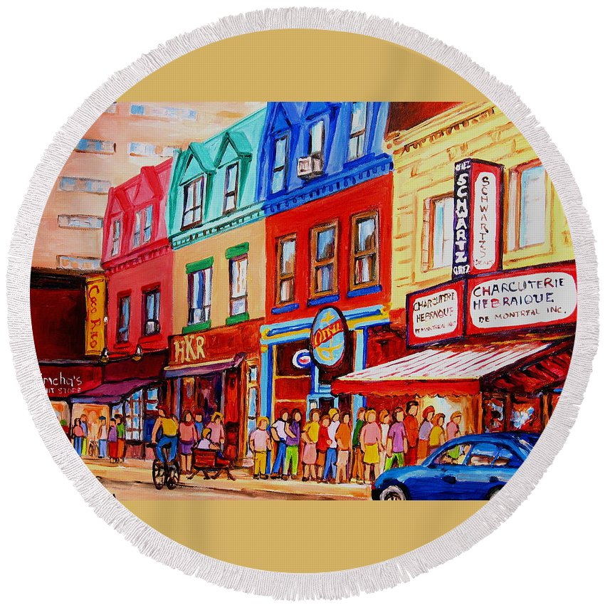 Cityscape Round Beach Towel featuring the painting Schwartz Lineup With Simcha by Carole Spandau