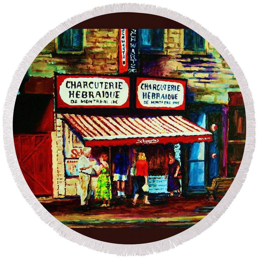 Schwartz Deli Round Beach Towel featuring the painting Schwartzs Famous Smoked Meat by Carole Spandau