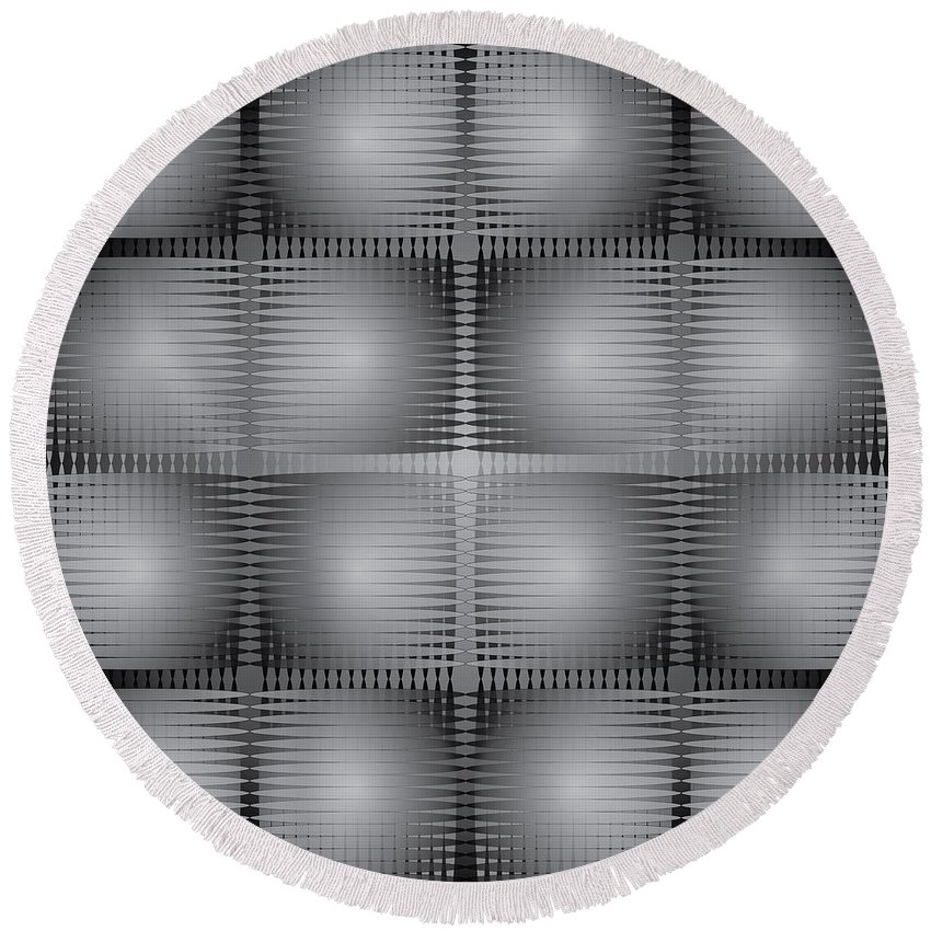 Op Art Round Beach Towel featuring the digital art Scoopbox Wall by Kevin McLaughlin