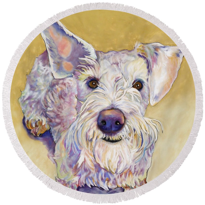 Schnauzer Round Beach Towel featuring the pastel Scooter by Pat Saunders-White