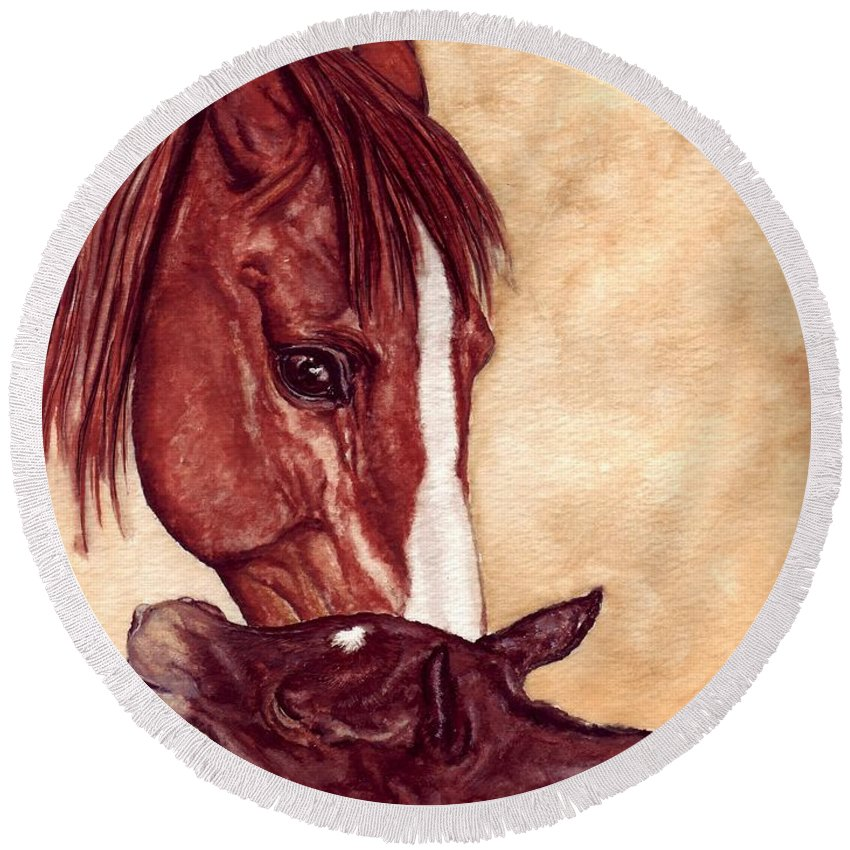 Horse Round Beach Towel featuring the painting Scootin by Kristen Wesch