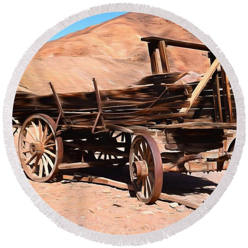 Scorched And Abandoned At Calico Ghost Town Round Beach Towel featuring the painting Scorched And Abandoned At Calico Ghost Town by Barbara Snyder